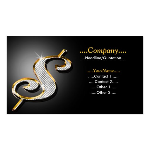 Bling Dollar Double-Sided Standard Business Cards (Pack Of 100)