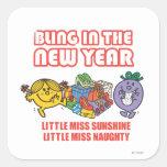 Bling en el Año Nuevo Calcomania Cuadradas