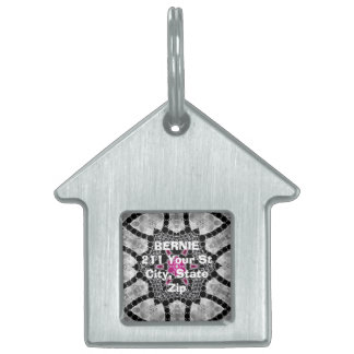 Bling Flower Abstract Pet Name Tag