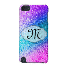 Bling Glitter Girly Monogram Initial Ipod Touch Ipod Touch (5th Generation) Case at Zazzle