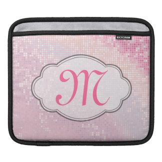 Bling Glitter Girly Pink Monogram IPAD Laptop Bag iPad Sleeves