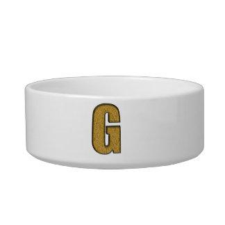 Bling Gold G Cat Bowl