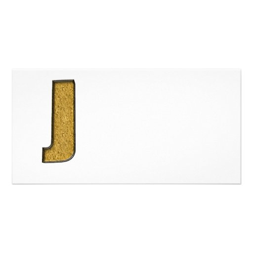 Bling Gold J Picture Card