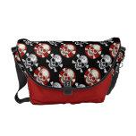 Bling/grunge red/blk Skull&Bones Messenger bags