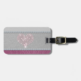 Bling Heart on Glitter white leather and pink Luggage Tags
