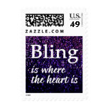 Bling Is Where The Heart Is Purple Postage Stamps