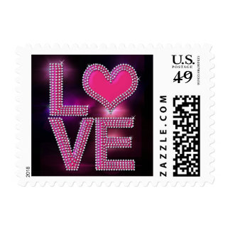 Bling Love with heart in pink Postage