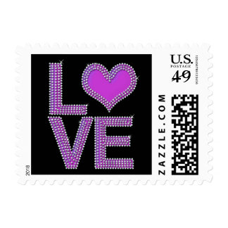 Bling Love with heart in purple Postage
