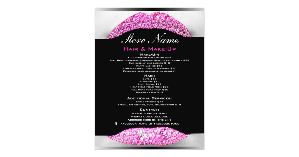 Bling Make Up Artist Beauty Salon List Of Services Flyer