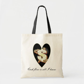 Bling Money Symbol Heart Budget Tote Bags