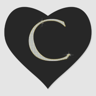 Bling Monogram - Initial C Heart Sticker
