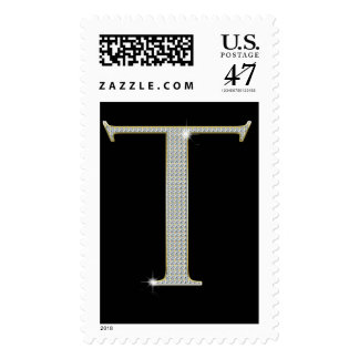 Bling Monogram Postage with Rhinestone Initial T
