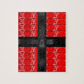 Bling negro rojo rompecabezas con fotos
