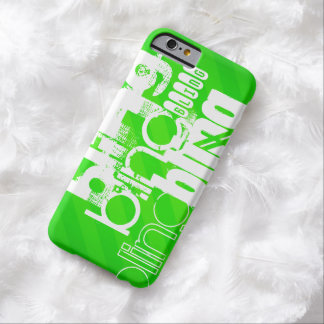 Bling; Neon Green Stripes Barely There iPhone 6 Case