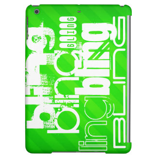 Bling; Neon Green Stripes Cover For iPad Air