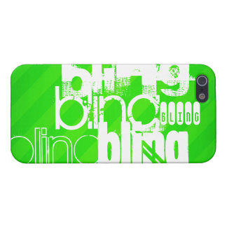 Bling; Neon Green Stripes iPhone 5 Case