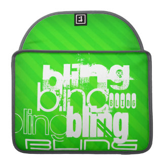 Bling; Neon Green Stripes Sleeves For MacBook Pro