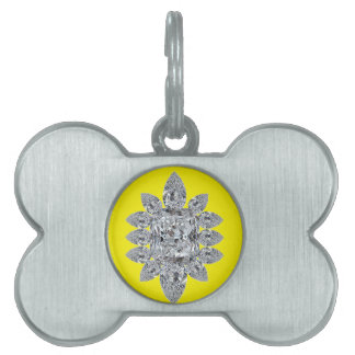Bling on Yellow Pet Name Tags