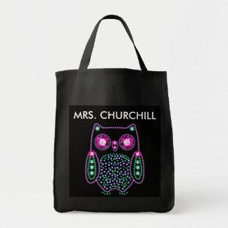 Bling Owl Teacher Thank You Tote Bag