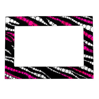 Bling Pink and Black zebra Photo Frame Magnets