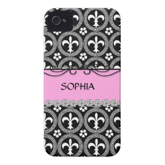 BLING PINK French Fleur de Lis IPHONE 4 COVER