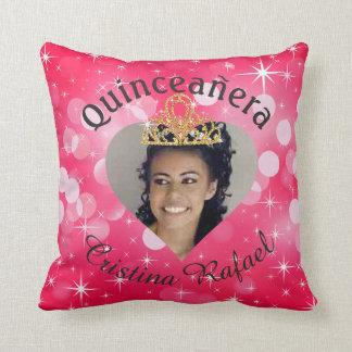 Bling Quinceanera Photo Heart Cutout Keepsake Throw Pillow