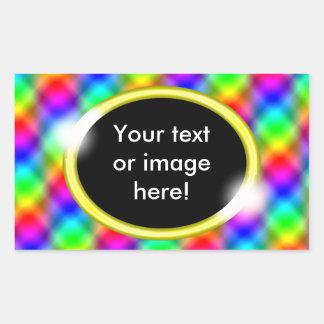 Bling Rainbow Colors Pattern Gold Photo Frame Rectangular Sticker