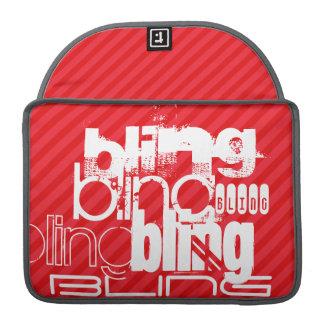 Bling; Rayas del rojo del escarlata Funda Para Macbook Pro