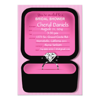 Bling Ring Box Bridal Shower pink 5x7 Paper Invitation Card