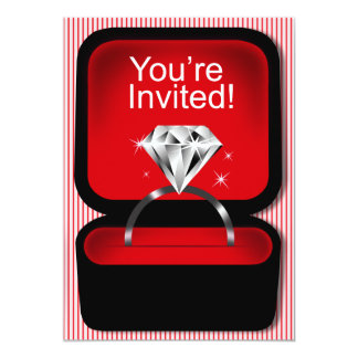 Bling Ring Box Bridal Shower red 5x7 Paper Invitation Card