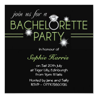 Bling Ring Green Bachelorette Party Card