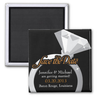 Bling Ring Save the Date 2 Inch Square Magnet
