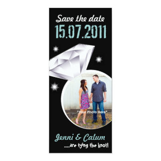 Bling Ring Your Photo Wedding Save the Date -green Card