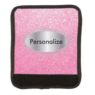 Bling rosado reluciente personaliza funda para asa de maleta