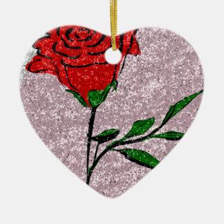 Bling Rose Ceramic Ornament