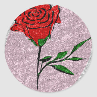 Bling Rose Classic Round Sticker