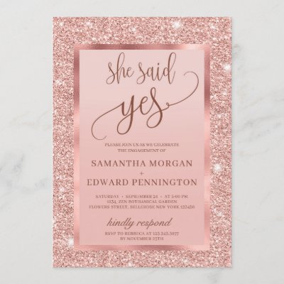 Bling rose gold engagement party she said yes invitation