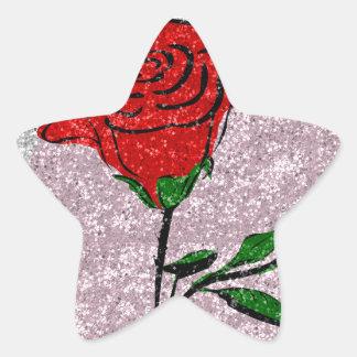 Bling Rose Star Sticker