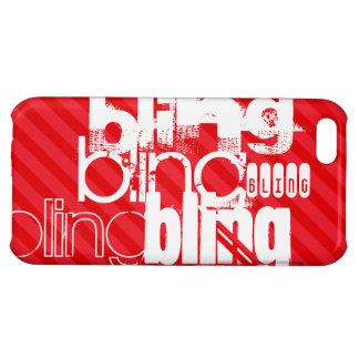 Bling; Scarlet Red Stripes Case For iPhone 5C