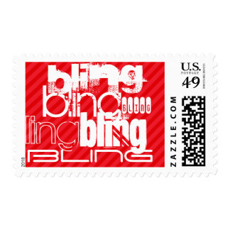 Bling; Scarlet Red Stripes Postage