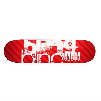 Bling; Scarlet Red Stripes Skateboard