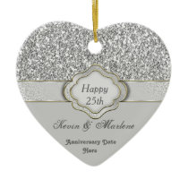 BLING Silver CUSTOM 25th ANNIVERSARY GIFT ORNAMENT