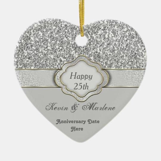 bling silver custom 25th anniversary gift ornament zazzle com