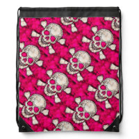 Bling Skull and Bones Drawstring Backpack
