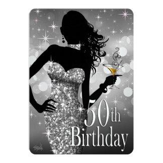 Bling Sparkle METALLIC ICE 50th Birthday | silver Custom Invites