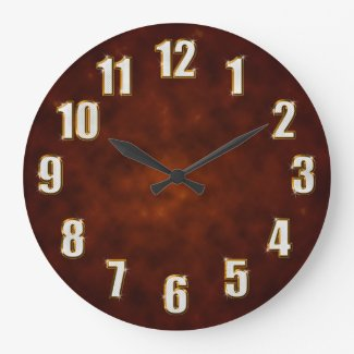 Bling sparkling numbers on brown fractal round wall clock