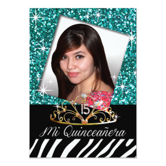 Bling Tiara Zebra Quinceañera 15th Birthday | teal Cards