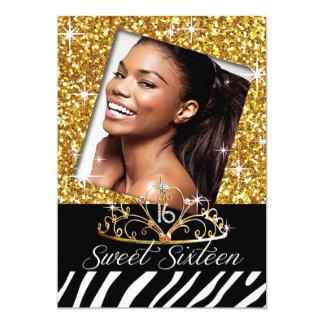 Bling Tiara Zebra Sweet 16 Birthday Celebration Card