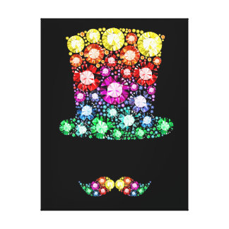 Bling Top Hat and Moustache Print - SRF