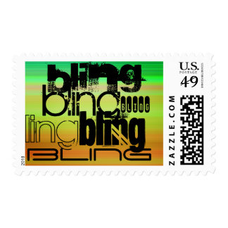 Bling; Vibrant Green, Orange, & Yellow Postage